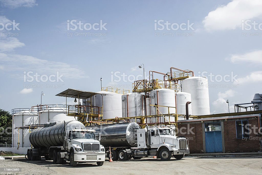 Chemical Storage Tank And Tanker Truck stock photo