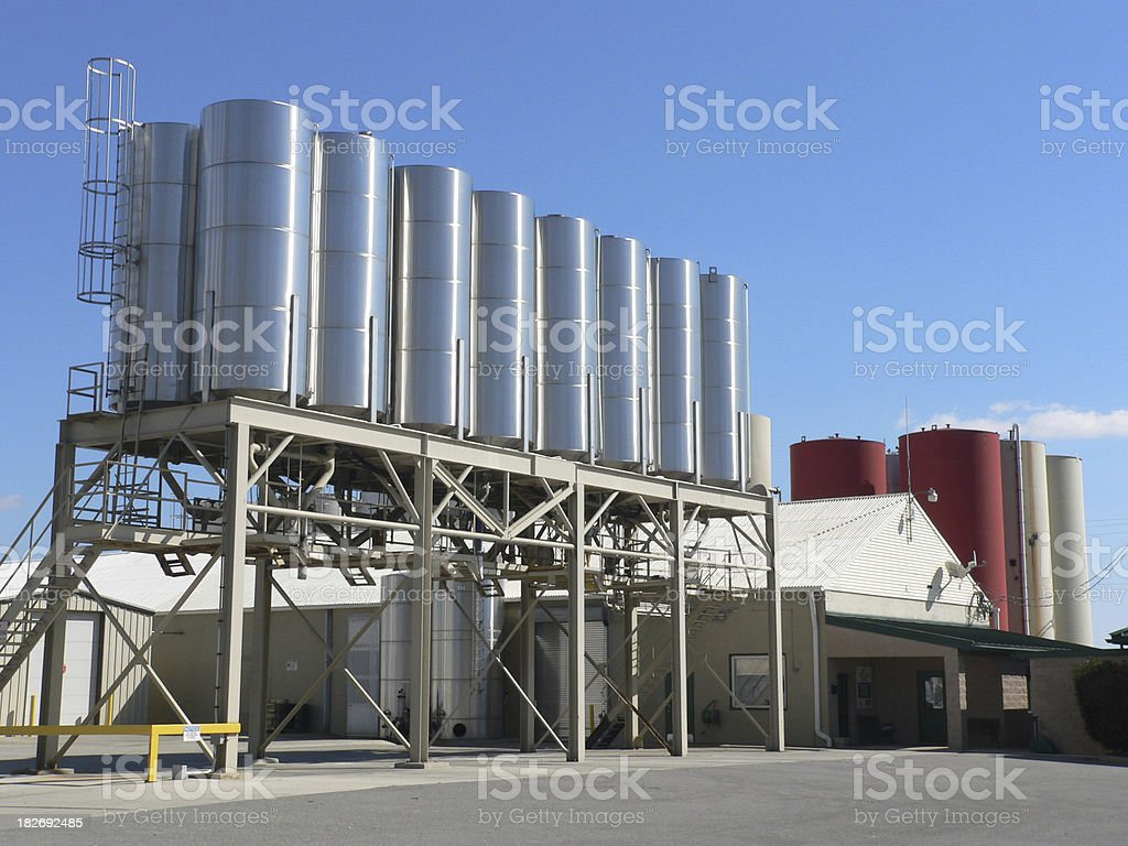 Chemical storage tanks royalty-free stock photo