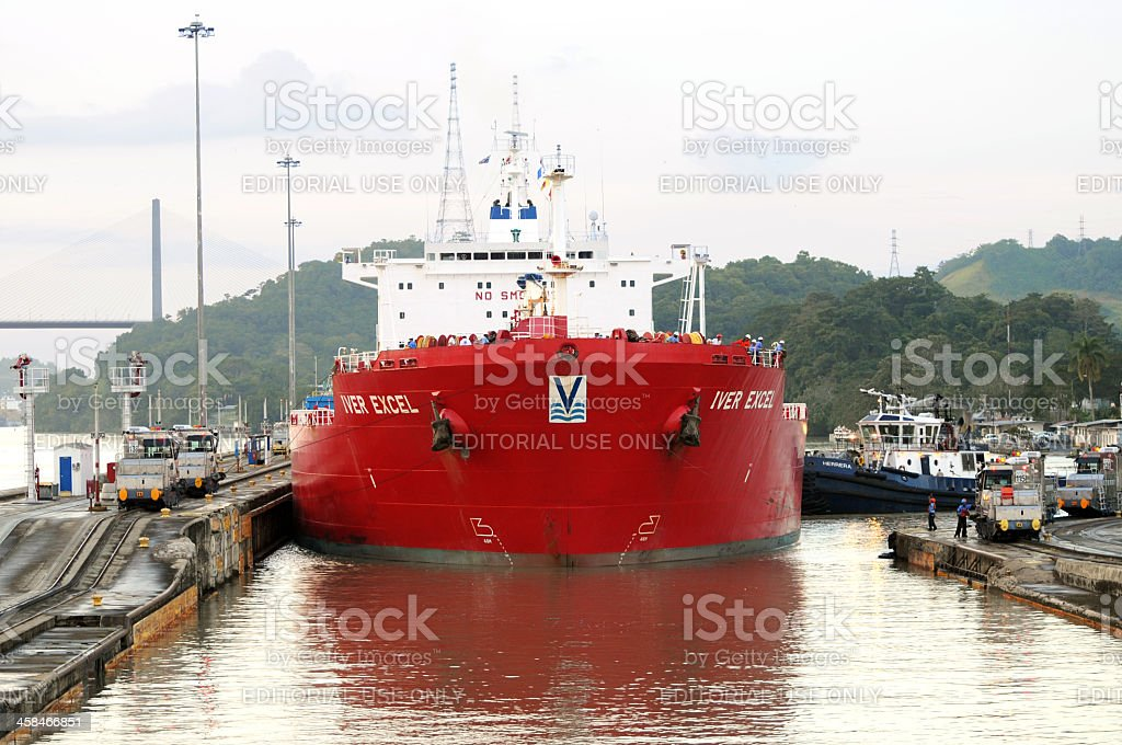 chemical tanker ship in Miraflores Locks, Panama Canal stock photo
