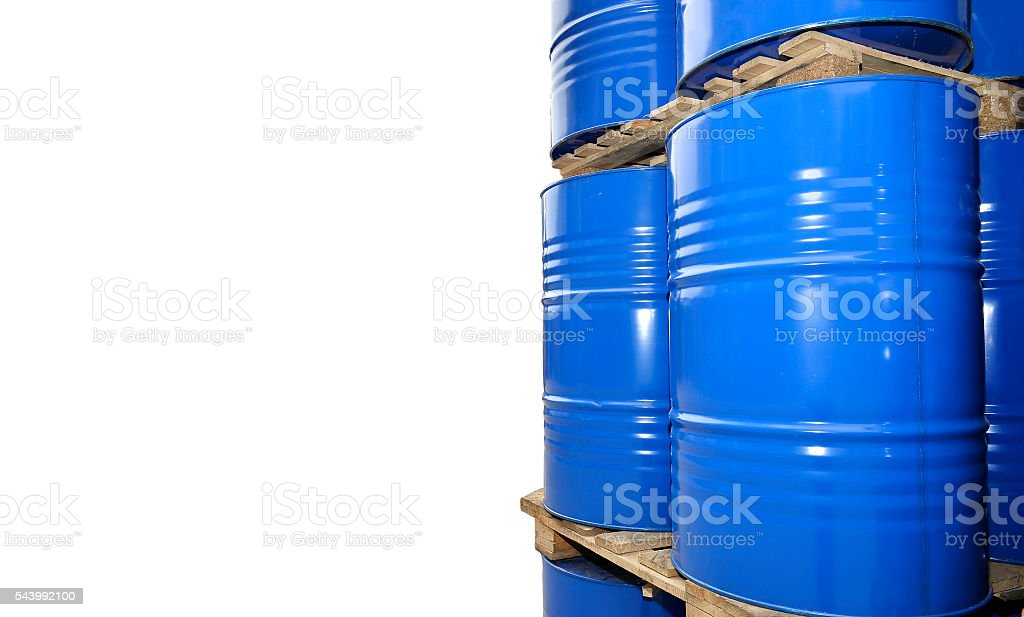 Chemical tanks stored at the storage of waste stock photo