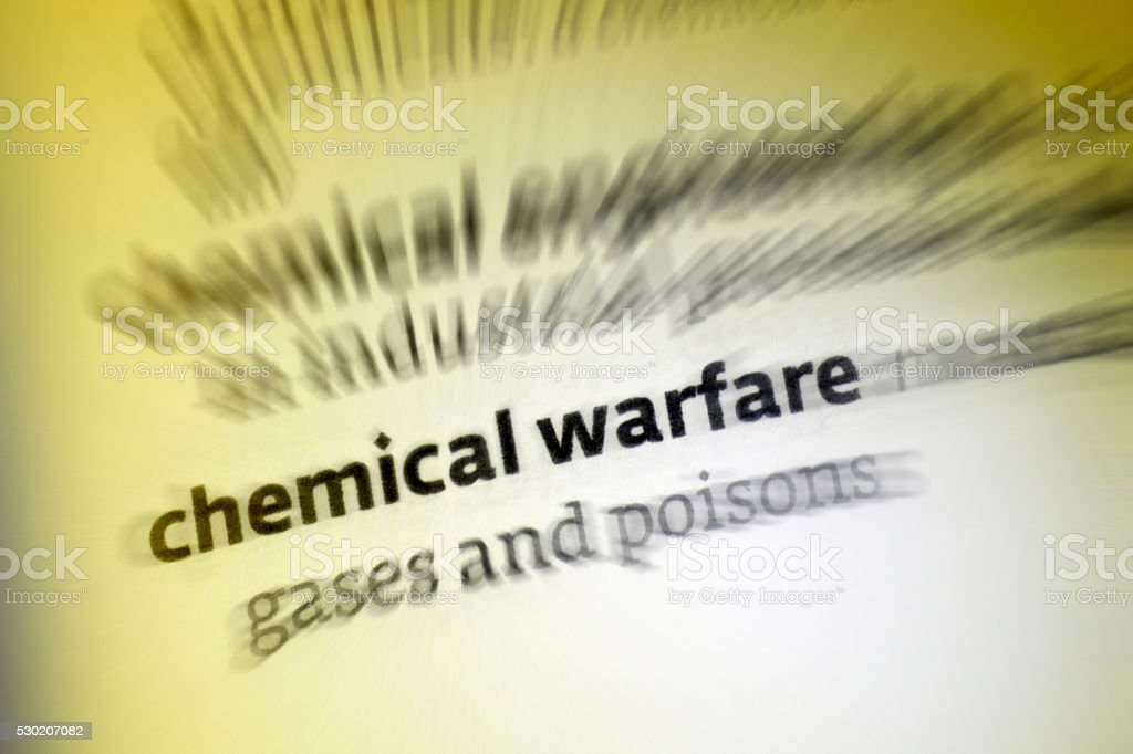 Chemical Warfare - Dictionary Definition stock photo