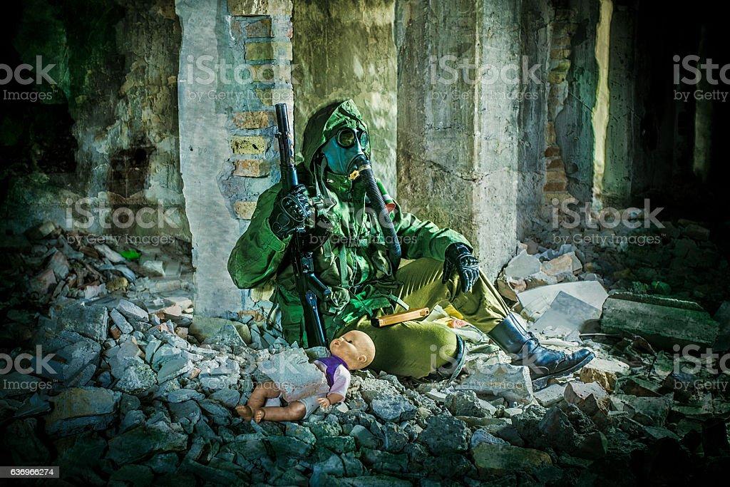 Chemical warfare stock photo