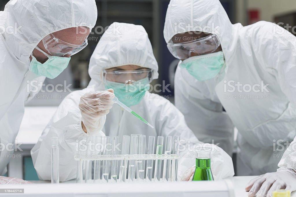 Chemist adding green liquid to test tubes royalty-free stock photo