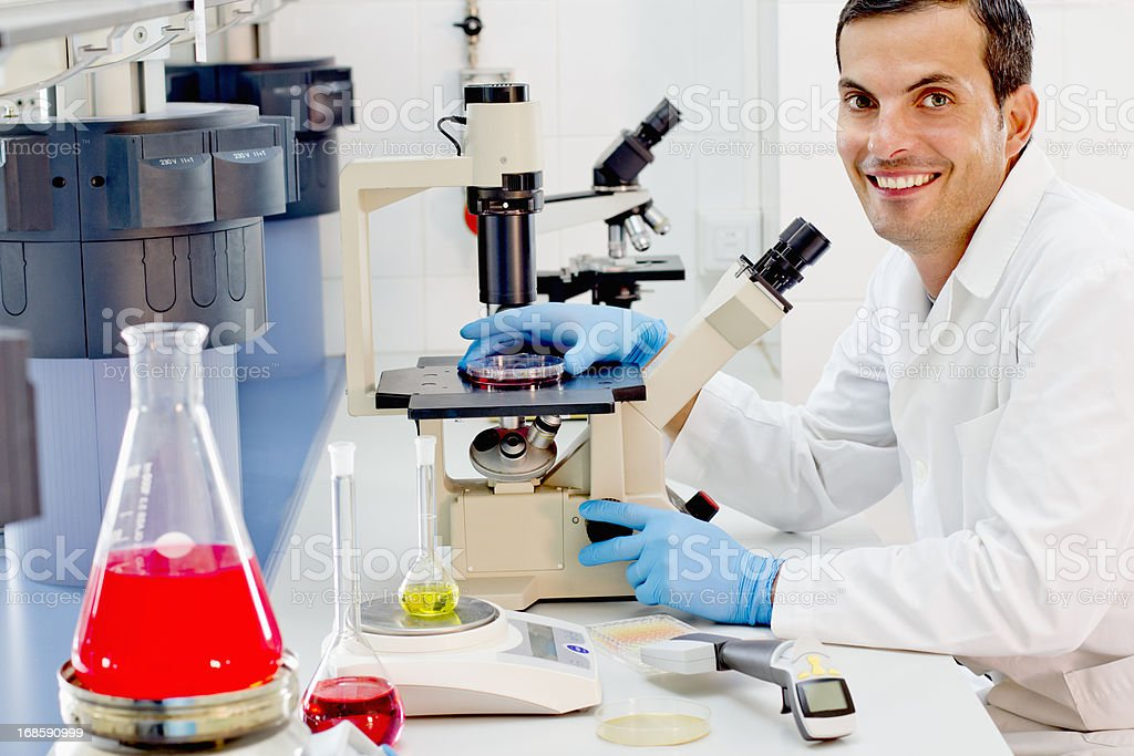 Chemist At His Work Station In A Pharmaceutical Lab stock photo – Lab Chemist