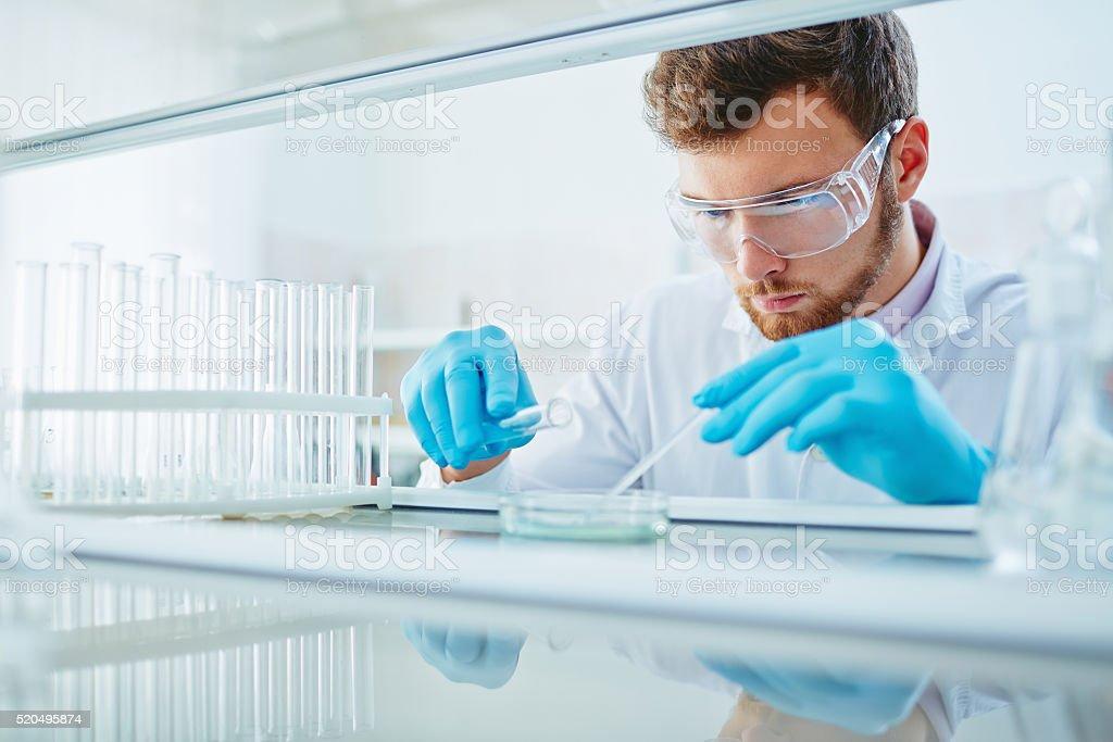 Chemist at work stock photo