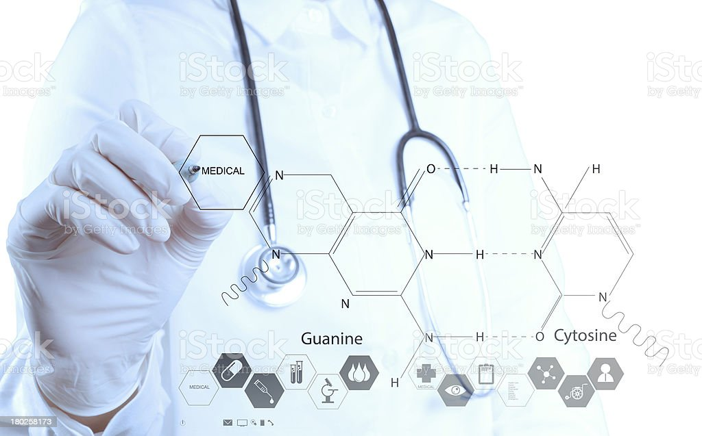 chemist doctor hand drawing chemical formulas royalty-free stock photo