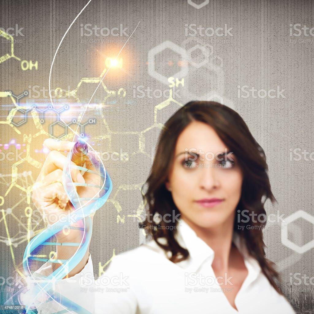 Chemist explain chemical formulas stock photo
