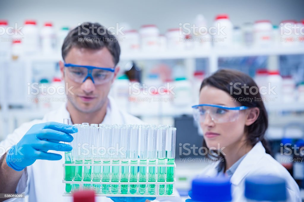 Chemist holding test tube tray with his colleague stock photo