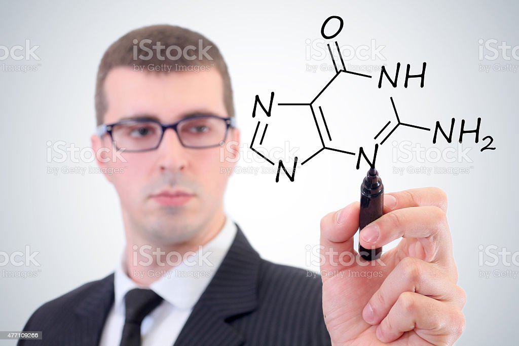 chemist shows a molecular structure stock photo