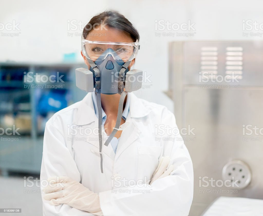 Chemist working at a chemical plant stock photo