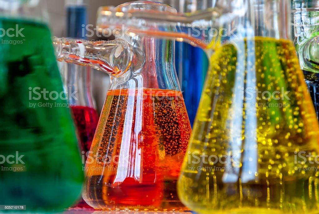 Chemistry bubbles stock photo
