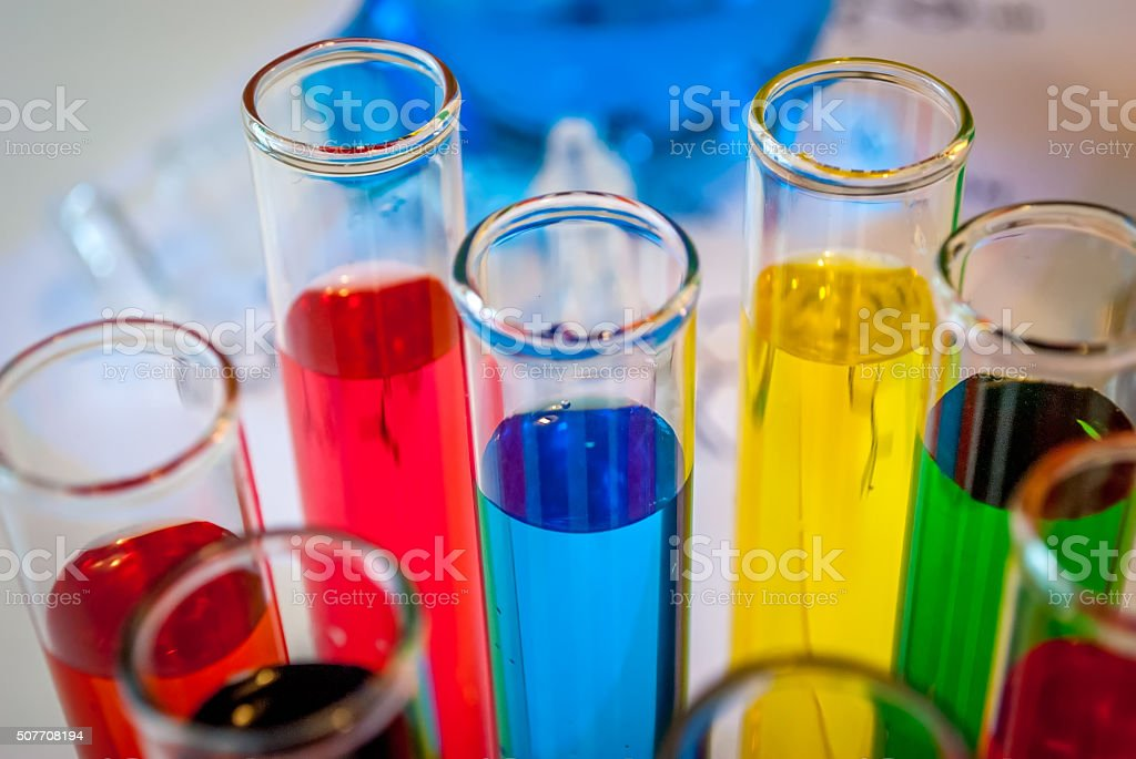 Chemistry colored vials stock photo