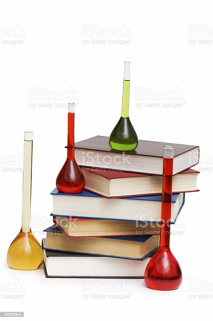Chemistry concept with tubes and books on white royalty-free stock photo