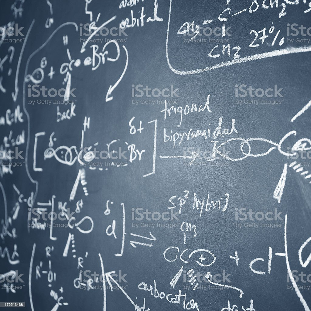 Chemistry equations stock photo