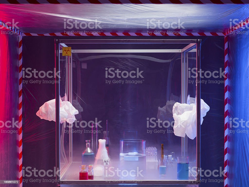 chemistry equipment after experimentation stock photo
