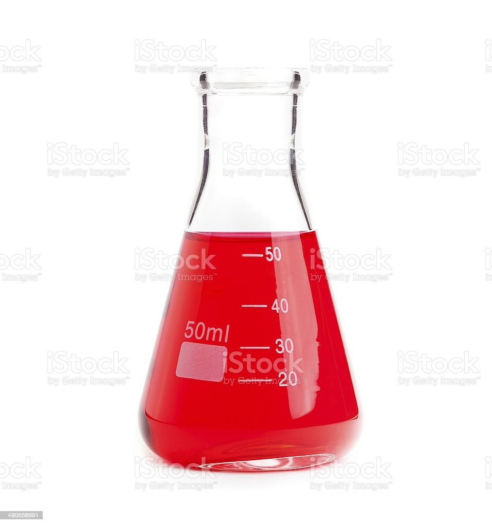 chemistry flask with red liquid stock photo