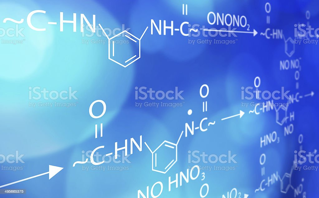 chemistry formula blue and white background stock photo