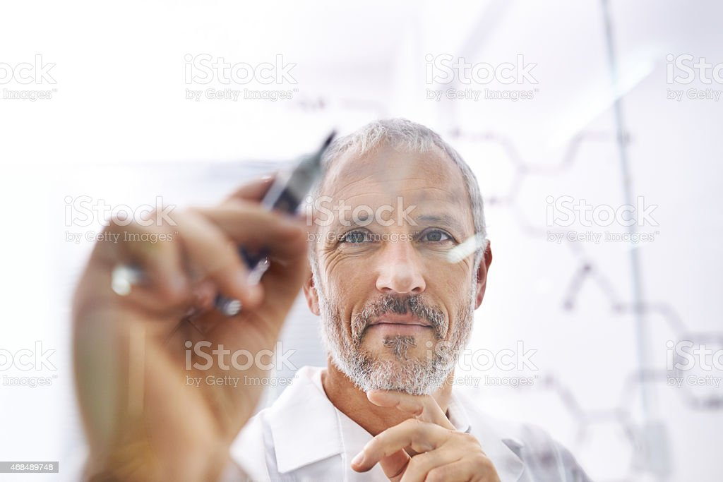 Chemistry is his area of expertise stock photo