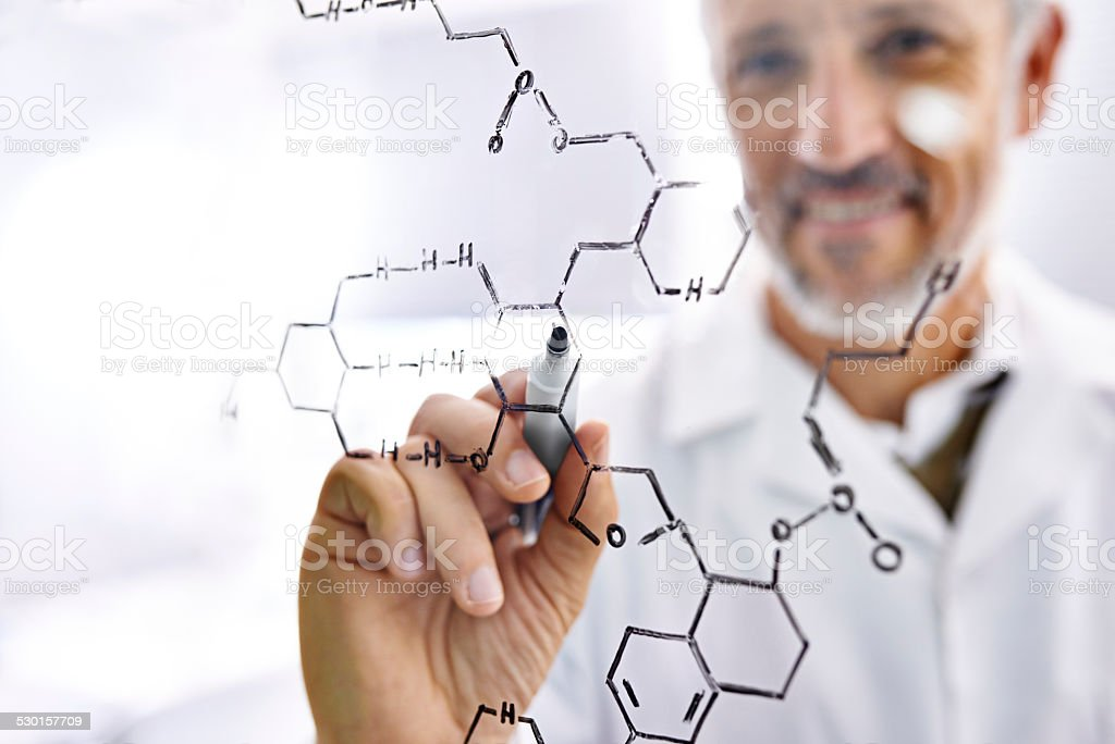 Chemistry makes him happy stock photo