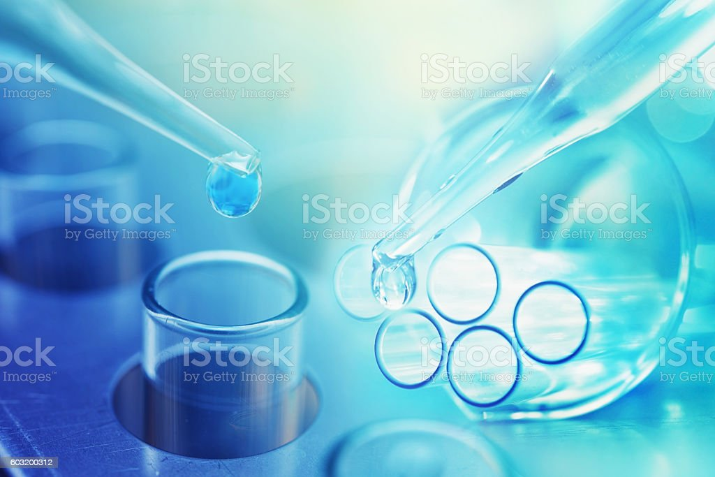 chemistry medicine research product at science lab blur background stock photo