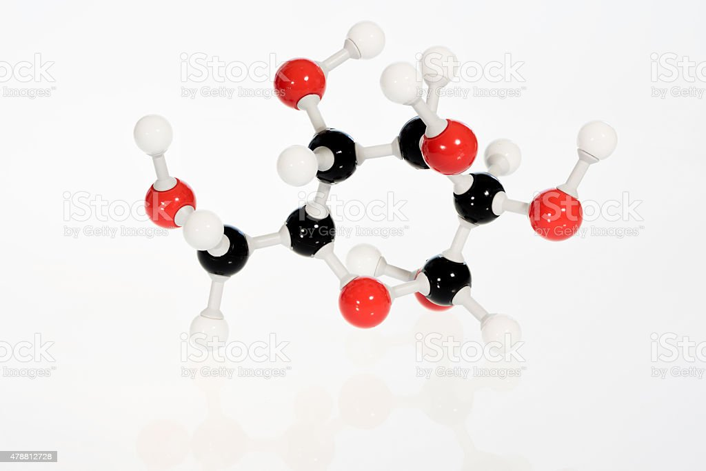 Chemistry model for glucose atom stock photo
