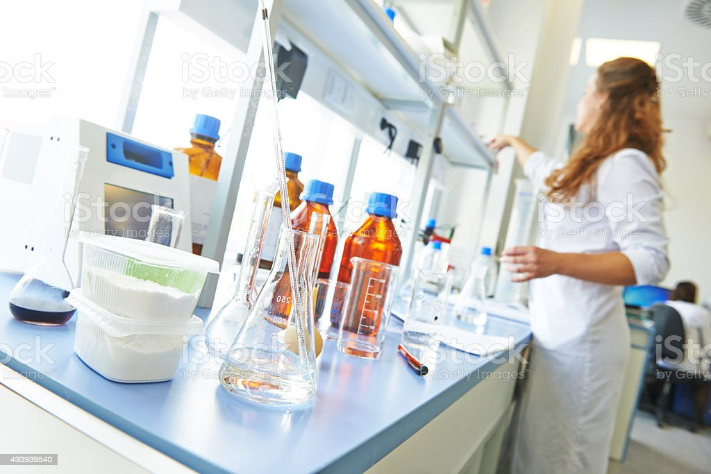 chemistry pharmacy research laboratory stock photo