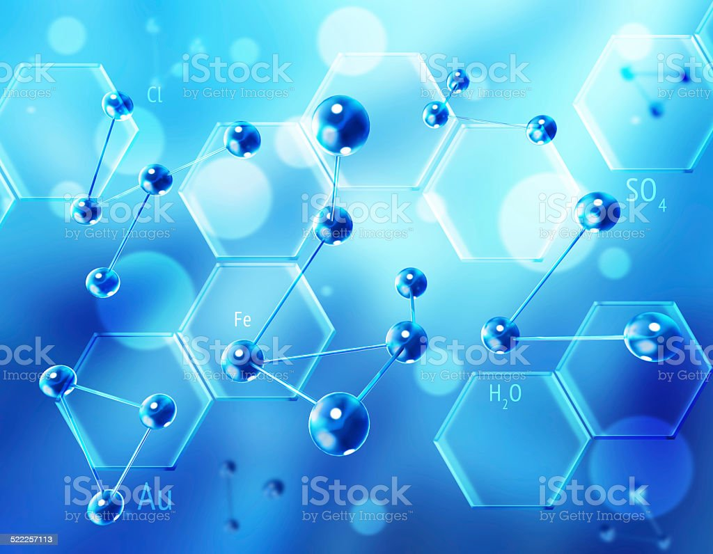 Chemistry science formula and molecules background. stock photo