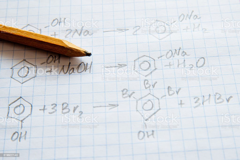 Chemistry science formulas on white sheet stock photo