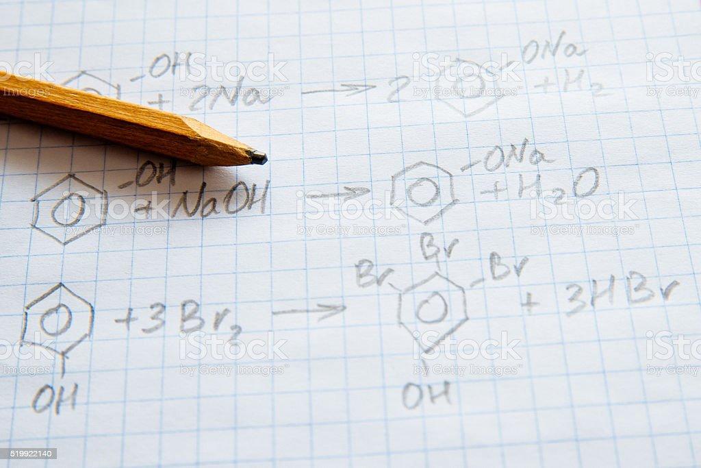 Chemistry science formulas on white sheet stock photo