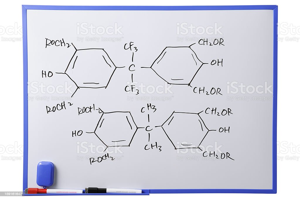 Chemistry science formulas on whiteboard royalty-free stock photo