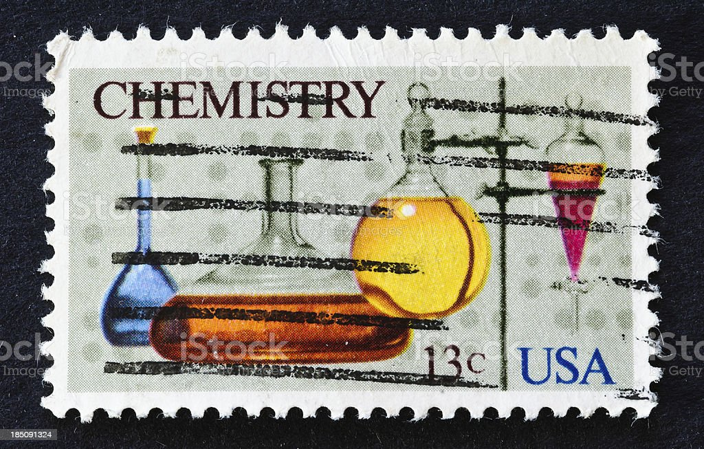Chemistry Stamp stock photo
