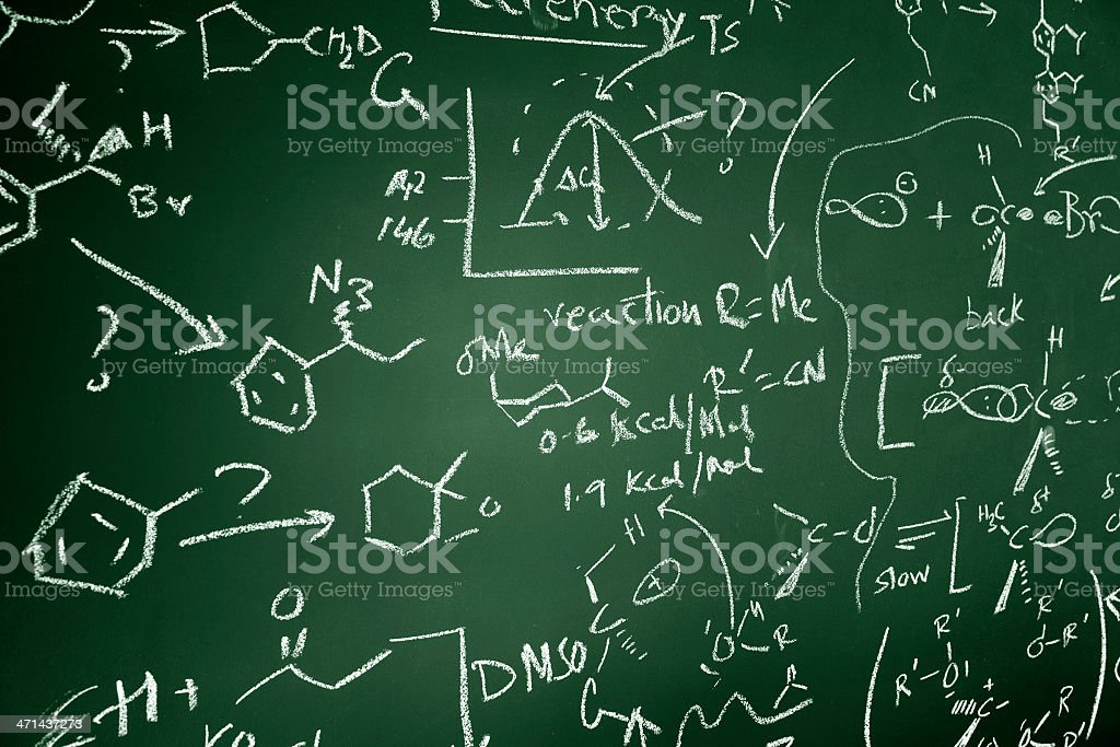 Chemistry text on chalkboard stock photo
