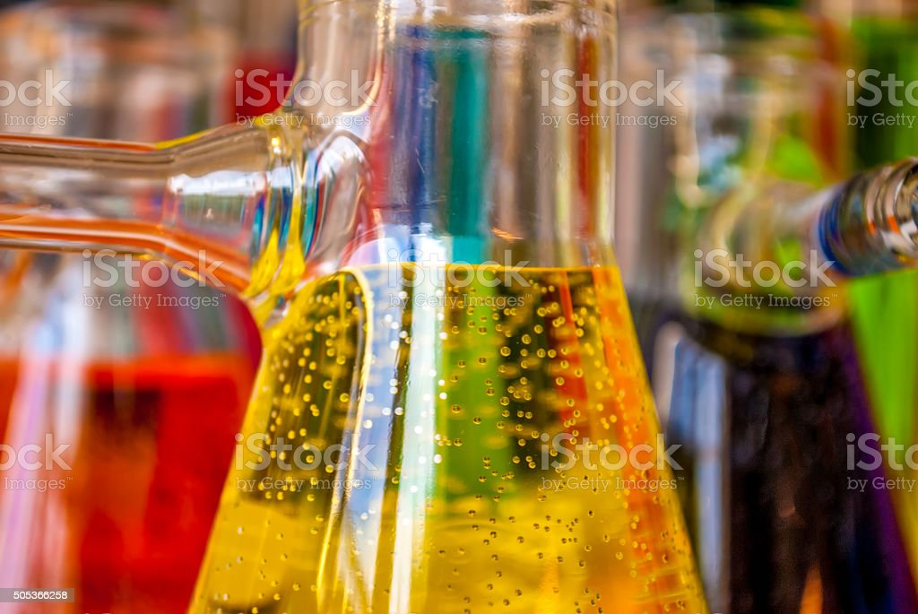 Chemistry yellow bubbles stock photo