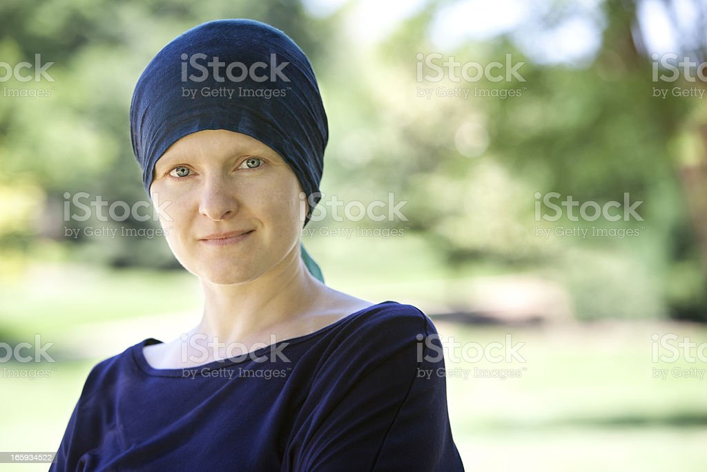 Chemo Woman Happy in the Park Close Up stock photo