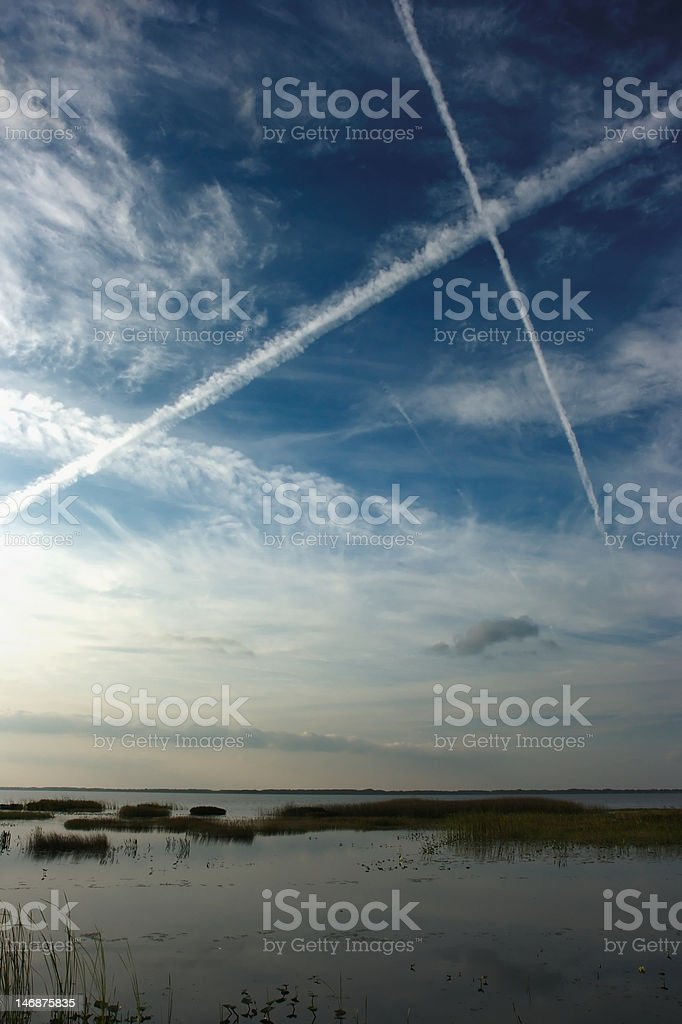 Chemtrail X stock photo