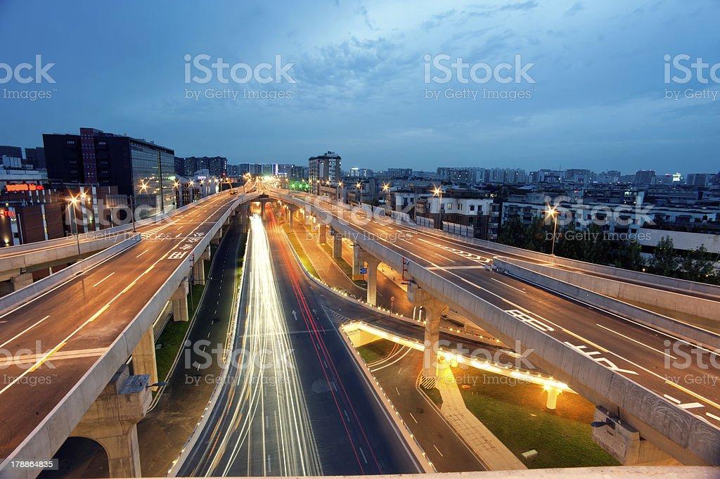 Chengdu, China, city overpass at night stock photo