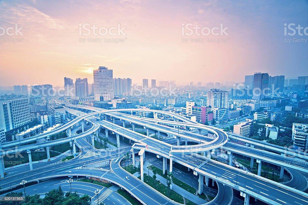Chengdu city overpass in China stock photo