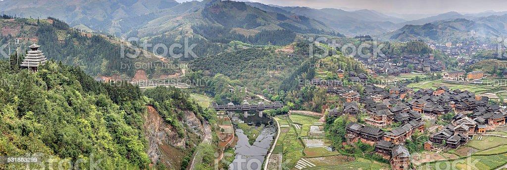 Chengyang Wind and Rain Bridge Scenic Area stock photo