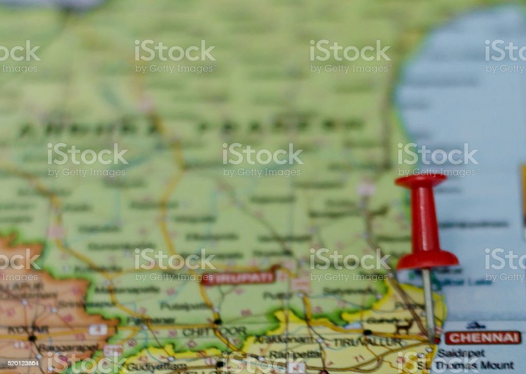 Chennai Marked on Map with Red Pushpin stock photo