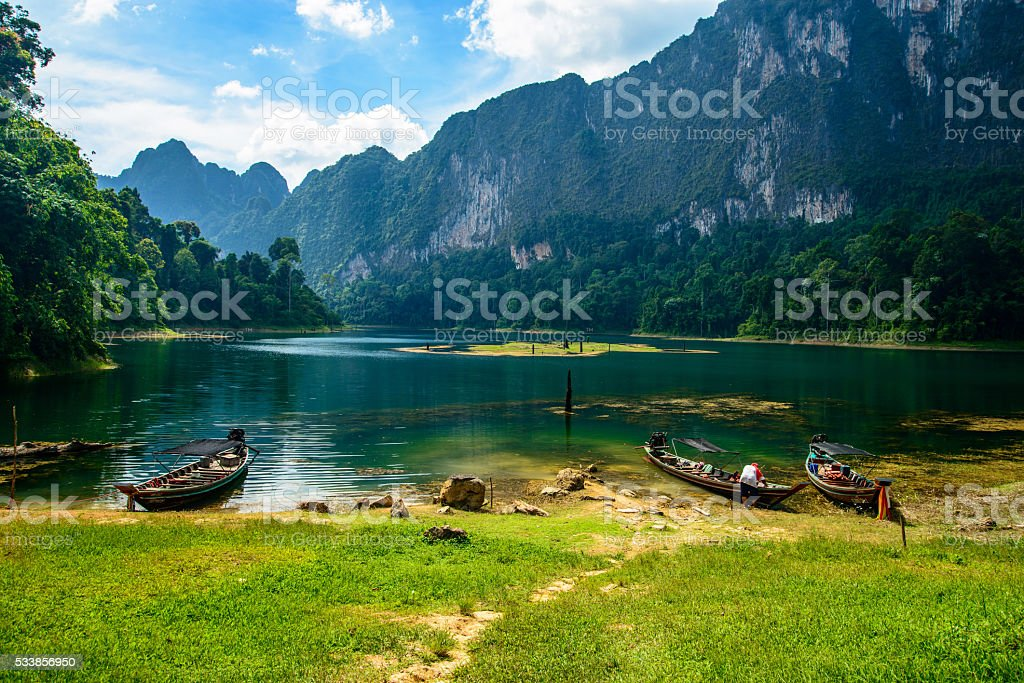 Cheo Lan lake. Khao Sok National Park. Thailand. stock photo