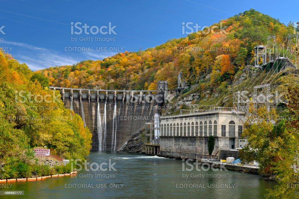Cheoah Dam on Cherohala Skyway in North Carolina, USA stock photo
