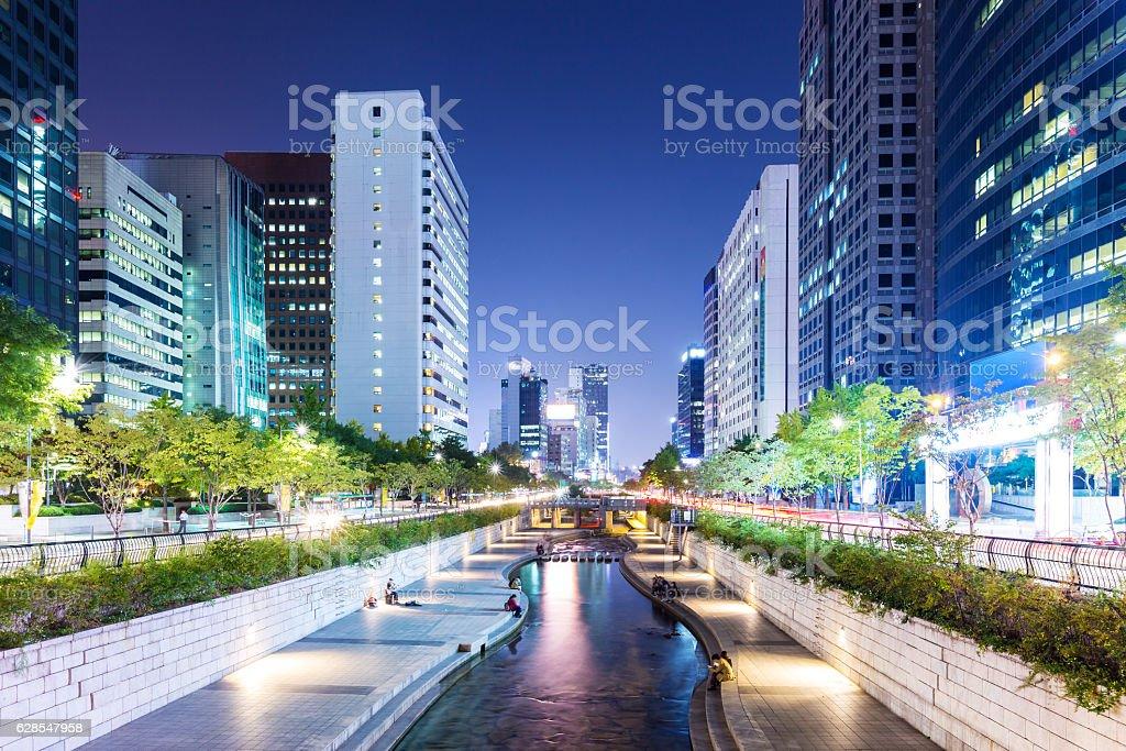 Cheonggyecheon stream at night stock photo