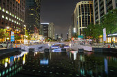 Cheonggyecheon Stream  in Seoul, South Korea.