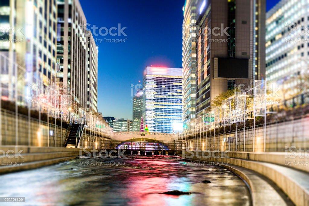 Cheonggyecheon Stream,Seoul, South Korea stock photo