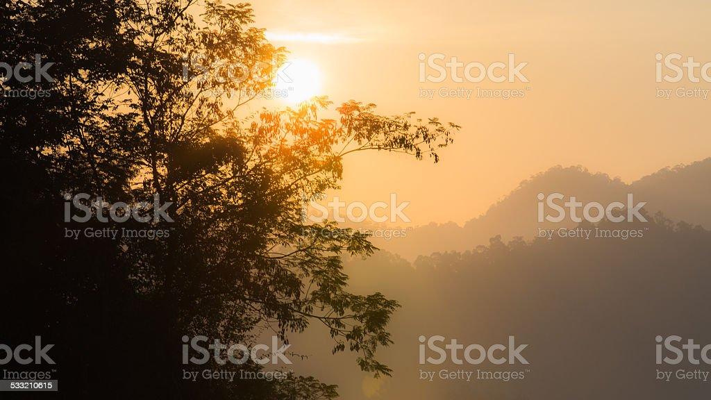 Cheow Lan Dam (Ratchaprapa Dam) sun rise stock photo