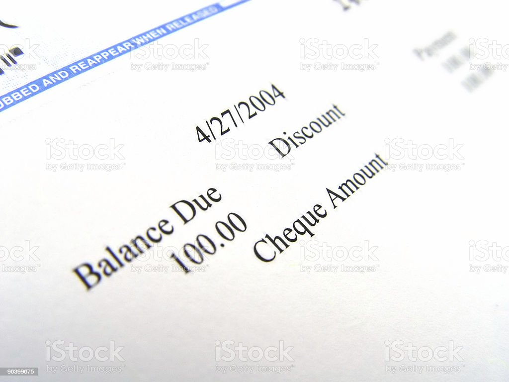Cheque from IStock Closeup stock photo
