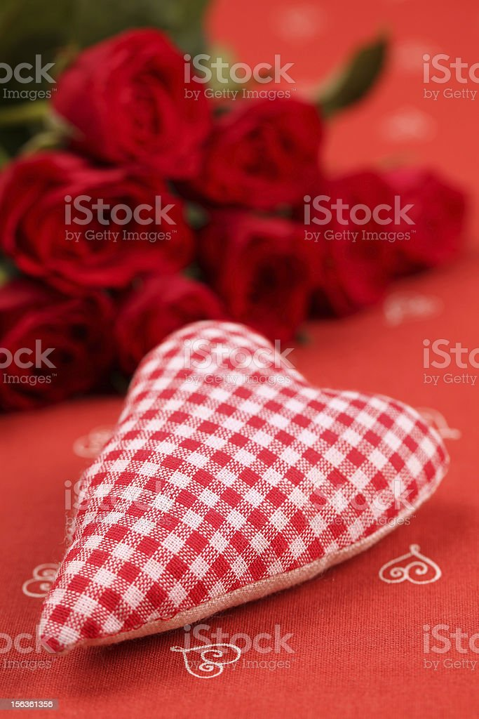 Chequered fabric heart and roses royalty-free stock photo