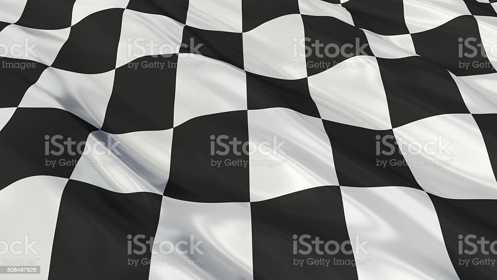 chequered flag Flag. 3d illustration stock photo