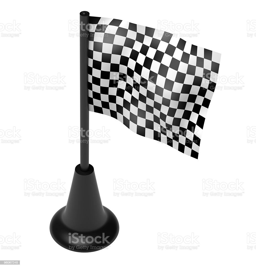 Chequered flag on the mast stock photo