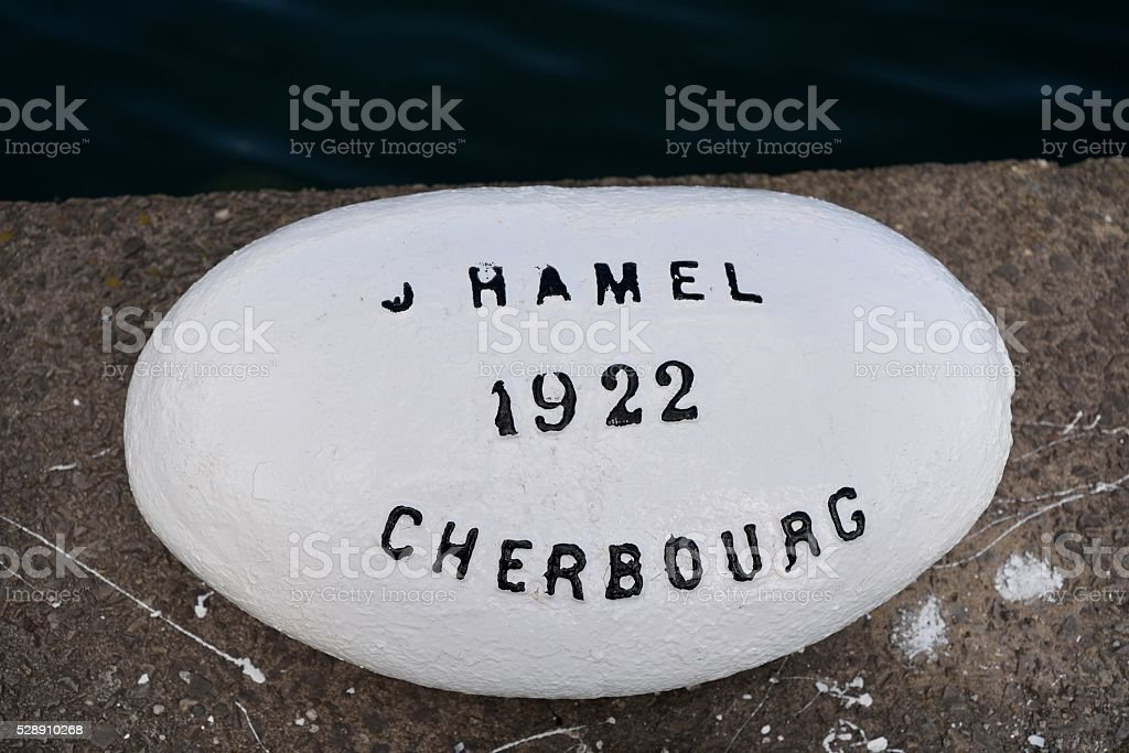 Cherbourg Commemorative Bollard stock photo